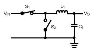 降圧形スイッチングレギュレータの動作原理を示す概略的な回路図