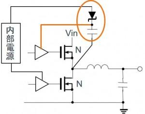 ブートストラップを利用したスイッチングレギュレータの出力段回路(Nチャネル+Nチャネル構成)