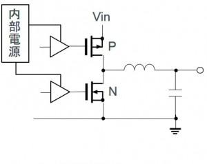 ブートストラップが不要な、スイッチングレギュレータの出力段回路(Pチャネル+Nチャネル構成)