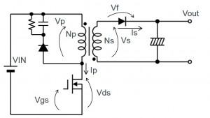 絶縁型フライバックコンバータの基本:フライバックコンバータの動作とスナバ