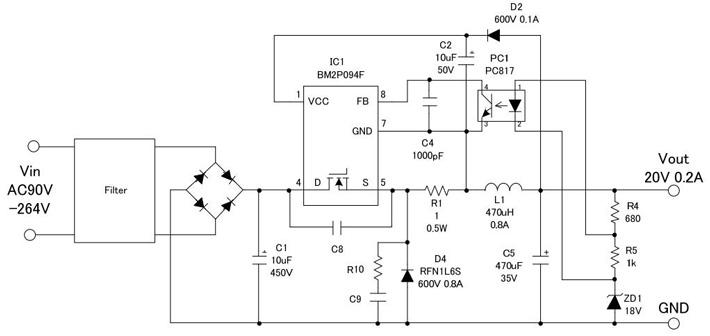 非絶縁型バックコンバータの回路事例